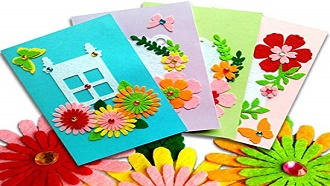 homemade cards with spring background